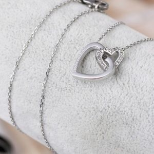 New Michael Kors Double Heart Silver Necklace